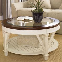 Antiqued White Glass Top Coffee Table