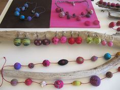 Felted and embroidered jewellery