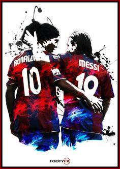 Ronaldinho y Messi Barcelona cartel A3/A4 por FootyFX en Etsy