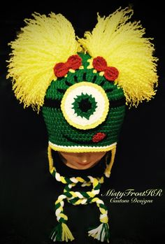 Oregon Ducks Inspired - Football - Crochet One Eyed Monster Earflap Hat - Available in any colors and size - www.facebook.com/MistyFrostHR