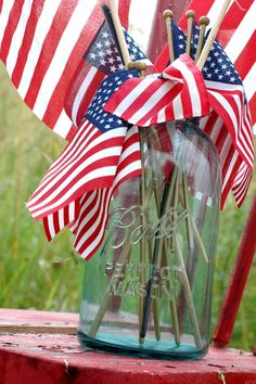 mason jar with american flags