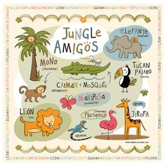 Jungle Animal Friends in Spanish. Canvas Wall Art by Bebe Bilingual. Kids can learn jungle animals in Spanish + English. Monkey, Lion, Butterfuly, Toucan, Elephant, Giraffe, Flamingo, Alligator...