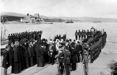 Peter , king of Serbia visits Mt Athos in 1910