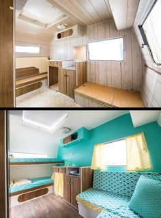 Our restored 1973 Vintage Caravan. We're going to explore Australia's National Parks with it. Vibrant Aquas, Yellows & Wood textures