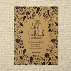 DIY Kraft Paper Wedding Save-the-Date - Woodland Leaf Pattern - Printable PDF Template - Instant Download by AmyAdamsPrintables on Etsy https://www.etsy.com/listing/154387559/diy-kraft-paper-wedding-save-the-date