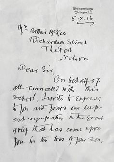 The Headmaster's sympathy letter