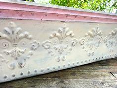 Shelf, Tin Shelf, Furniture, Reclaimed Tin, Ceiling Tile, Pink White Shelf, Pediment, Long Shelf, Fleur dis Lis, Shabby, Painted Shelf by CasaKarmaDecor, $127.58 USD