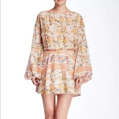 Free People Sz L Sun Print Mini Dress Cut Out Back
