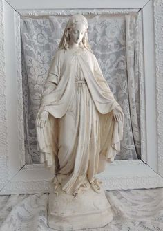 Antique Vintage French Madonna Statue by chanteclairInteriors, $245.00