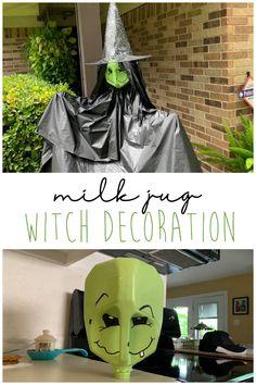 Halloween Decorations To Make, Dollar Tree Halloween Decor, Theme Halloween, Halloween Activities, Halloween Milk Jugs, Halloween Crafts, Halloween Witches, Halloween Stuff, Holiday Decorations