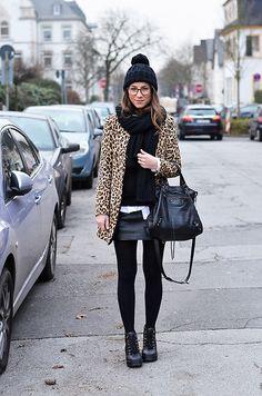 Get this look: http://lb.nu/look/8557185  More looks by Stephanie Van Klev: http://lb.nu/vejadu  Items in this look:  Bickley+Mitchell Beanie, Bickley+Mitchell Scarf, Zara Blazer, Selected Femme Leatherskirt, Asos Booties, Balenciaga Bag   #casual #edgy #street #animalprint #leo #print #blazer #jacket #coat