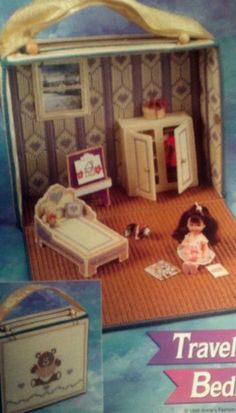 2 RARE Fashion Barbie Kelly Doll Heart Travel CASE Bed toy box table chair nursery handmade plastic canvas PATTERNS Valentines Birthday gift
