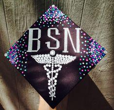 Graduation cap BSN nursing RN made using rhinestones