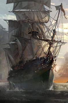 drawings of sketches Pirate Ship Tattoos, Assassins Creed Black Flag, Pirate Art, Pirate Ships, Bateau Pirate, Old Sailing Ships, Ship Paintings, Most Beautiful Wallpaper, Land Art