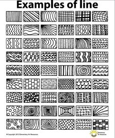 Line Pattern Handout One Page Elements of Art Principles of Design Visual Arts This is a one page line patten handout that will help students get ideas to create unique works of art. Doodle Patterns, Line Patterns, Zentangle Patterns, Doodles Zentangles, Easy Zentangle, Art Patterns, Elements Of Art Line, Elements And Principles, Design Elements