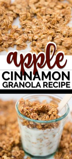 Apple Cinnamon Homemade Granola via spaceshipslb Protein Snacks, Healthy Sweet Snacks, Healthy Homemade Granola, Quick Snacks, High Protein, Healthy Eating, Cinnamon Granola Recipe, Apple Cinnamon, Sweet Granola Recipe