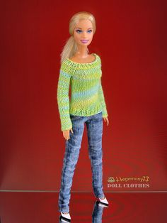Barbie doll in hand knitted sweater and worn washed blue denim jeans pants by Hegemony77 doll clothes, via Flickr