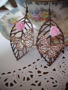 Butterfly Leaf Rose Earrings
