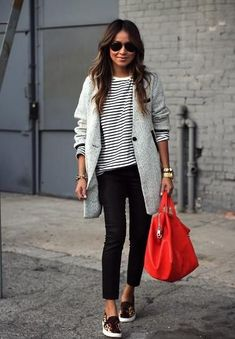 neutrals with bright red purse.