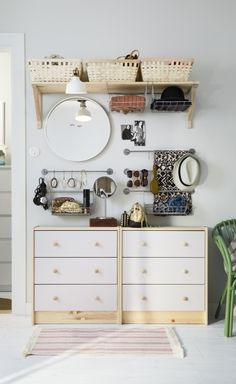 In a small bedroom, don't forget to think of ways you can use your wall space to store and organize your things. For example, BYGEL wall rails, hooks, and baskets can be used to keep your collection of accessories neat and easy to access.