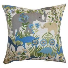 With its colourful design and stylised animal motif, this charming cotton cushion is the perfect complement to your child's bedspread or your neutral living room. Arrange alongside glossy white finishes, neutral upholstery and coloured glass accents in greens and blue to complete the contemporary look.  Product: CushionConstruction Material: Cotton, linen cover and down-feather fillColour: Blue, green, natural, grey and whiteFeatures:  Reversible designHidden zipper for easy cover removal…