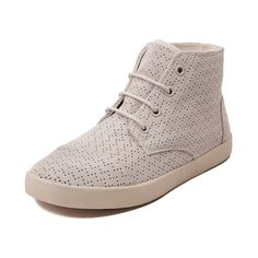 The new Paseo Hi Casual Shoe from TOMS provides the support you love from an ankle-high bootie with the comfort of a casual sneaker. Fashioned in perforated suede, wear them with or without laces for a sophisticated compliment to any outfit.    Details   Perforated suede upper   Fully lined for comfort and durability   Classic high-top style   Hidden elastic tongue straps for optional lacing   Raised profile with higher sidewall