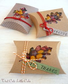 Gift boxes / pillow boxes ~ instructions + template here for the box,  plus the leaves for this Fall / Thanksgiving theme.  Gift wrapping