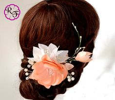 Bridal hair accessory wedding hair clip Kanzashi by RainOfFlowers