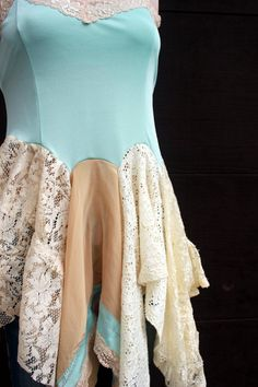 Shabby Chic Lace Camisole, Romantic Aqua, Junk Gypsy Style- inspiration for a dress