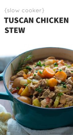 Make this Tuscan chicken stew to warm you up on a cold day. Instructions to prepare this chicken stew in the crock pot or in the instant pot and a video tutorial so you can't mess it up! The flavors are enhanced by fennel seeds, rosemary, and a splash of balsamic vinegar. #slowcooker #chickenstew #cleaneating #chicken #crockpot #instantpot