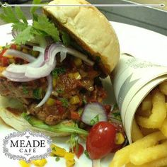 Spoil yourself or your family today at Meade Cafe with one of our delicious hamburgers. Happy Hamburger Day everyone! Spoil Yourself, Hamburgers, Pulled Pork, Beef, Ethnic Recipes, Happy, Food, Shredded Pork, Meat