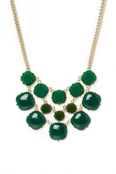 Sosie-Pietra Necklace in Jungle  The perfect complementary color for warm fall reds and ambers!