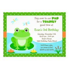 Cute Frog Birthday Party Invitation you will get best price offer lowest prices or diccount couponeDiscount Dealslowest price Fast Shipping and save your money Now! Frog Birthday Party, Kids Birthday Party Invitations, Boy Birthday Parties, 3rd Birthday, Birthday Ideas, Prince Birthday, Hunting Birthday, Frog Theme, Cute Frogs