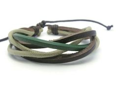 APECTO Jewelry Leather Brown and Green Ropes Braided Surfer Wrap Bracelet Handmade, SM20 >>> To view further, click the image