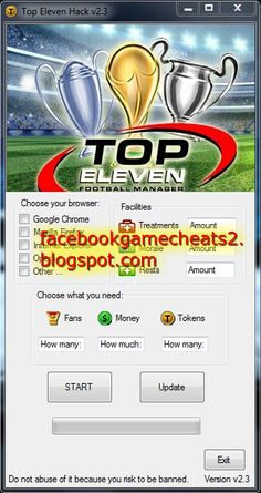 Top Eleven Hack Adder – Top Eleven Cheats Free tokens money fans (July 2013) 100% Working This is the Top Eleven Hack Adder – Free tokens, money, fans