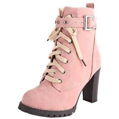 Women Retro Thick High Heel Lace Up Ankle Boots With Buckle Strap *** Check this awesome product by going to the link at the image. (This is an affiliate link) #AnkleBootie