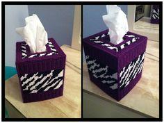 Purple zebra print plastic canvas tissue box cover