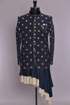 Black Italian Thread Embroidered Jodhpuri Suit-VL3126