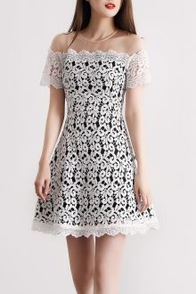 A Line Mini Lace Dress