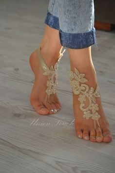 Champagne at beach wedding french lace sandals por UnionTouch