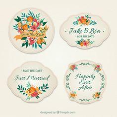 花の結婚式のバッジコレクション 無料ベクター