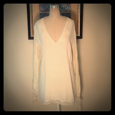 Whitewash Beaded Blouse Cream blouse with lace and beaded neckline. Long pleated sleeves with tie at end. #5218-6 (B6) Whitewash Tops Blouses