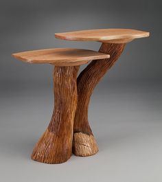 Two-Level Side Table by Aaron Laux - Cherry Top and Cherry Base (Wood Side Table) Rustic Wood Furniture, Log Furniture, Wood Home Decor, Woodworking Furniture, Handmade Furniture, Interior Wood Shutters, Driftwood Lamp, Diy Coffee Table, Wood Art