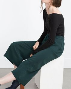 CROPPED FLOWING TROUSERS-Culottes-Trousers-WOMAN | ZARA France