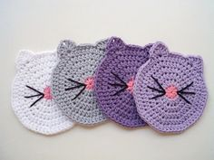 Cat Face Coasters Crochet Cat Butt Cup Coasters by prettyobject