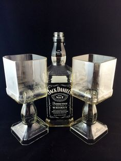 Jack Daniel's Whiskey bottle Goblet Set of 2 on Etsy, $40.00