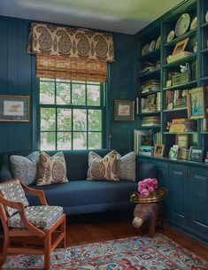 Brittany Bromley Interiors - This deep blue-gray acts as a moody neutral in a home library room created with glossy blue paneled cabinets and blue shiplap walls. Home Library Rooms, Library Wall, Interior S, Interior Design, Green Library, Blue Ottoman, Built In Bookcase, Bookshelves, Neutral