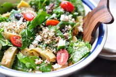 Kale and Quinoa Greek Salad Created by Wendy at Fit-and-Frugal.com This Kale and Quinoa Greek Salad is a tasty, nutritious and easy to make vegetarian meal. Featuring Ancient Harvest quinoa and kale, a delicious Greek salad.
