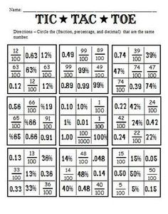 Fractions Decimals and Percents | and Worksheets to go with the book Fractions, Decimals, and Percents ...