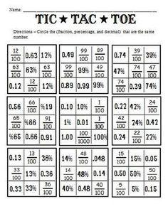 Fraction – Percentage – Decimal Math Puzzles | Fun math games, Fun ...